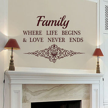 Wall Decals Family Where Life Begins Quote Decal Vinyl Sticker Horseshoe Home Decor Bedroom Dorm Living Room MN 87