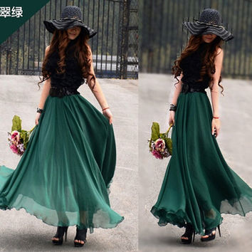Green Skirt  fashon skirts Long Skirts Chiffon by fashiondress6
