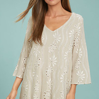 Bohemian Heart Beige Embroidered Shift Dress