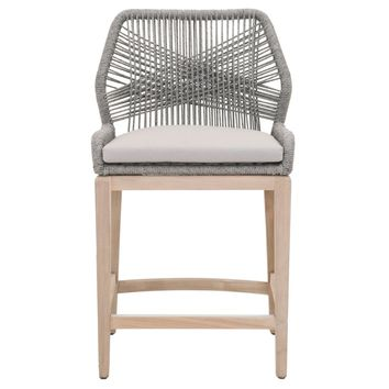 Loom Outdoor Counter Stool Platinum Rope, Smoke Gray Fabric, Gray Teak | 100% Olefin, Aluminum