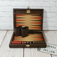 Vintage Mini Travel Backgammon Set in Faux Leather Case