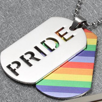 Gay Pride Rainbow Pendant and Necklace