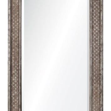 Cormac Leaner Mirror Rusted Brown with Silver Highlights; Beveled Mirror