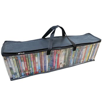 Evelots DVD/BlueRay/Video-Storage Bag-NEW MODEL-Clear-Handle-Hold 200 Total-Set/4