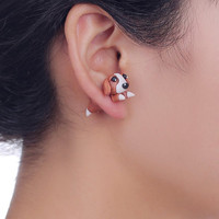 mini handmade DIY Polymer clay stud Earrings Jewelry white ladies girl'cartoon cute dog 925 silver pin Earring gift free shipping