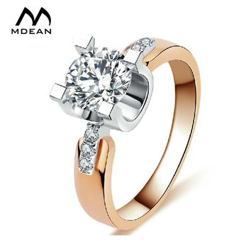 MDEAN Rose gold Color Wedding Rings For Women Engagement AAA Zircon Jewelry Vintage women rings Accessories bague 18KR015