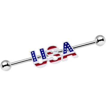 14 Gauge Red White and Blue Text USA Industrial Barbell 38mm