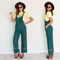 Vintage 70's bell bottom SMALL flare legs hippie boho bohemian hunter green pants overalls high waisted