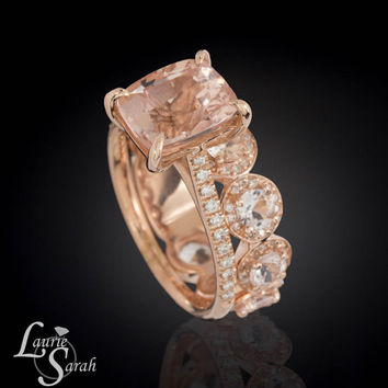 14k Rose Gold Morganite Engagement Ring, Rose Gold Morganite Engagement Ring, Peach Sapphire Wedding Band, Diamond Halo Wedding Band -LS3848