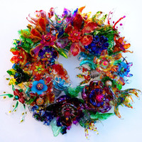 CHihULy inspired plastic bottle flower wreath, Recycled Art, Multicolor Flower Centerpiece, Rainbow Wedding Decor, Unique Candle Ring