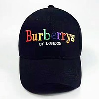 Burberry Fashion New Embroidery Colorful Letter Travel Women Men Cap Hat Black