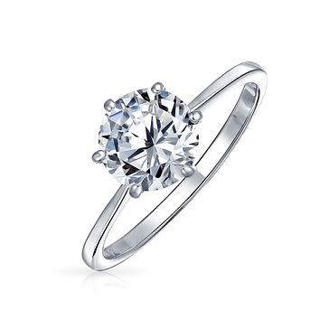 2.5CT 6 Prong AAA CZ Solitaire Engagement Ring 925 Sterling Silver