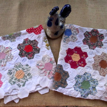 Vintage Hand Sewn Hand Pieced Quilt Pieces for Sewing Project or Crafting