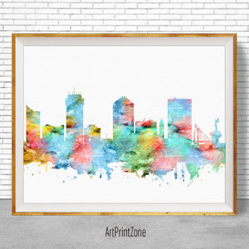 Wichita Kansas, Wichita Print, Wichita Skyline, Office Decor, Office Poster, Skyline Art, Cityscape Art, ArtPrintZone
