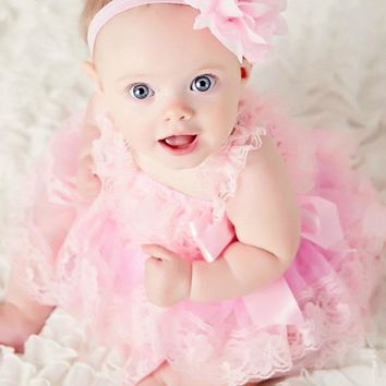Cute Baby Girl Clothing Pink Flower Girl Dresses Infant Wedding Party Dress Lace Chiffon Dress Toddler Birthday Patry Dress