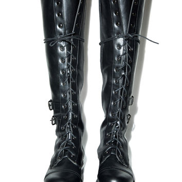Wild Rose Saeko Tall Combat Boots Black