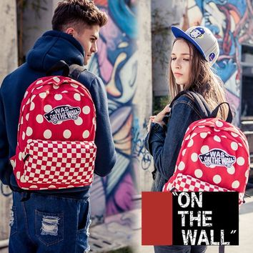 VansFashion Personality printing large capacity backpack bag leisure travel boom Red square wave point 8 style