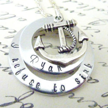 Insipirational Anchor necklace I refuse to sink Necklace Hand stamped Personalized jewelry