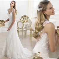 Lace  Flowers  Fishtail Wedding Dress