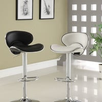 Kossi contemporary style black leather like vinyl adjustable swivel bar stool with backrest