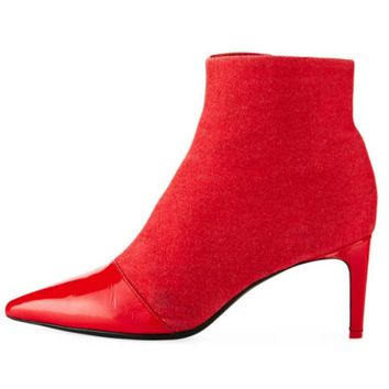 Rag & Bone Behe Mixed Leather Red Ankle High Boot