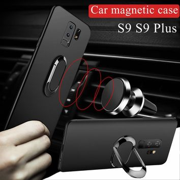 For Samsung S9 S9 Plus Multifunctional Magnetic Ring Finger Cases for Samsung Galaxy S9 Plus Car Holder Kickstand Back Cover for
