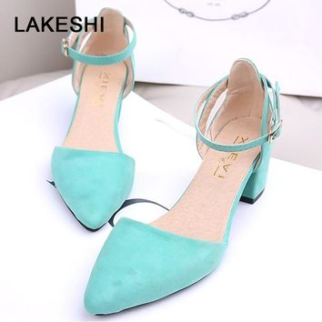 LAKESHI Square Heels Women Pumps Summer Women Heel Shoes Black Pumps Low Heel Shoes Women Fashion Buckle Ladies Shoes