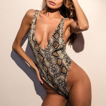 ONETOW Women Fashion Snake Print Backless Sleeveless Deep V-Neck Bodycon Show Thin Jumpsuit Bodysuit