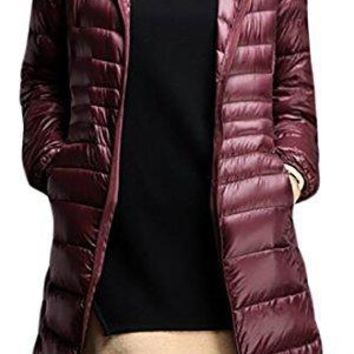 Pandapang Womens Casual Slim Puffer Packable Lightweight Down Jacket Coats