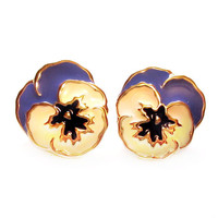 Vintage Pierced Earrings, Purple Enamel Pansy Flower