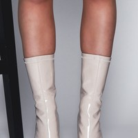 Luxe To Kill Erica Nude Ankle Heeled Boots With Clear Heel