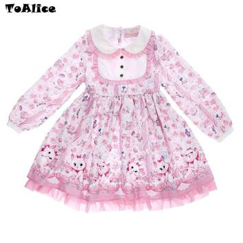 So Cute Sweet Girls Marie Cat Kiss Me Meow Printed Pink Lolita Princess Dress Long Sleeve Floral Peter Pan Collar with Bow