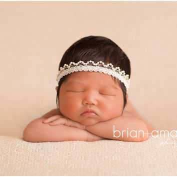 Ivory Newborn Headband Vintage Photo Prop Halo Headband