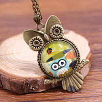 Cute Vintage Style Owl Necklace Gift 130