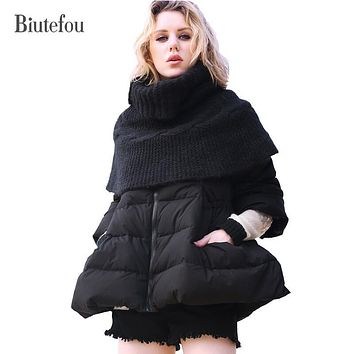 2017 Biutefou brand new arrival winter white duck down solid color down coats women fashion detachable scarf thick loose coats