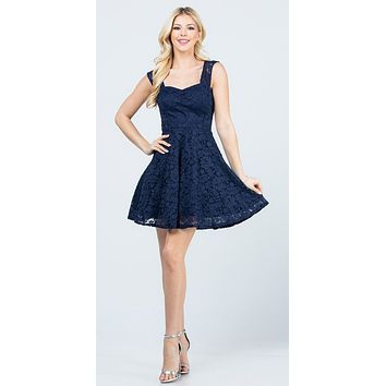 Navy Blue Short Dress Skater A-Line Sleeveless