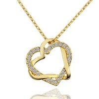 MARENJA Fashion-Gifts for Women-Gold Plated Double Twinings Hearts with Transparent Crystal Inlaid Pendant Necklace For Women Wedding Party Classic Jewellery -Exclusive Design Chain Length 45-50cm/17.7-19.7in