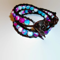 Double Leather Wrap Bracelet Multi Color Glass Beads White Fuschia Blue with Angel Wing Closure  Boho Chic Country Girl Handmade Jewelry