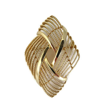 Vintage Monet Gold Tone Brooch, Braided Diamond Shaped Pin