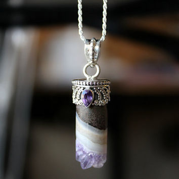 Raw Amethyst Pendant Necklace, Amethyst Druzy, 925 Sterling Silver, Geode Necklace, Boho Necklace, Healing Pendant, Round Cylinder