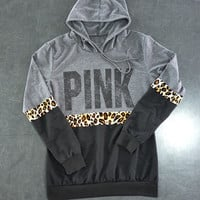 "shosouvenir  :  ""PINK"" Victoria's Secret Multicolor Print Hoodie Top Sweater"