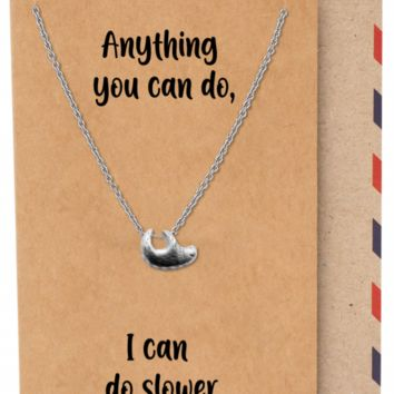 Abina Hanging Sloth Pendant Necklace, Gifts for Best Friend with Funny Greeting Card