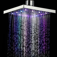 Newest Square LED Rain Top Shower Head 7 Colors Automatic Changing With Wall Mounted Or Ceiling Mounted Shower 20*20*10cm