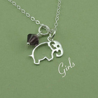 Baby Elephant Necklace - girls birthstone crystal charm jewelry - sterling silver pendant - gift