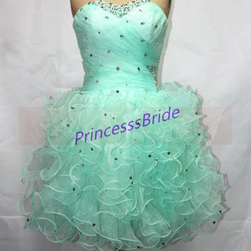 2014 short mint organza prom dress with rhinestones,chic sweetheart gowns for cocktail party,cheap homecoming dresses hot.