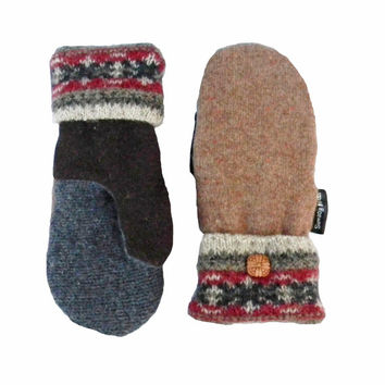 Tan Mittens, Wool Mittens, Recycled Mittens Women's Blue Navy Handmade in Wisconsin Fleece Lined Sweaty Mitts Rustic Neutral Earth Tones
