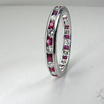 1.30ct Platinum Ruby & Diamond Eternity Wedding Ring JEWELFORME BLUE
