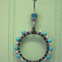 Belly Button Ring - Body Jewelry -Turquoise and Silver Beaded Ring with Lt. Blue Gem Stone Belly Button Ring