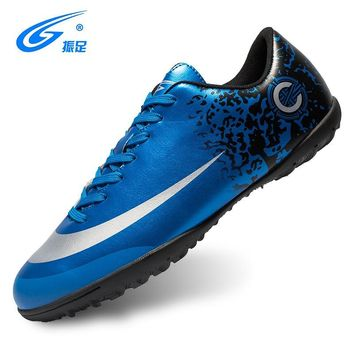 ZHENZU New Football Boots Soccer Shoes Men Superfly Cheap Football Shoes For Sale Kids Cleats Indoor Soccer Shoes Chuteira Blue
