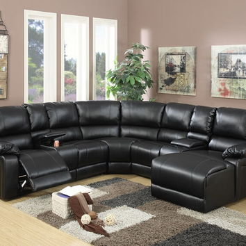 Poundex F6745 5 pc collette collection black bonded leather upholstered sectional sofa with chaise and recliners